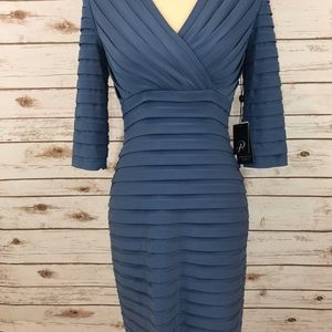 7ce1d9e3 Adrianna Papell Dresses - Adrianna Papell Blue Pleated Jersey Sheath Dress